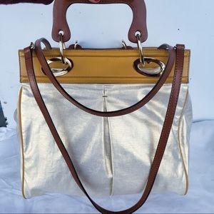 Francesco Biasia Metallic GoldWooden Crossbody Bag